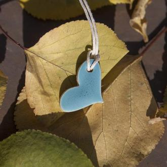 Кулон, подвеска  Сердце голубое 0007