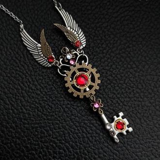 Полет - кулон ключ в стиле steampunk fantasy (красный 1 шт. в наличии)