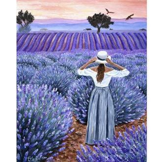 Прованс. Девушка в лавандовом поле. Холст, масло, 40х50