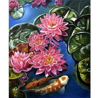 Рыбки кои в лотосах. Картина маслом 50х60 см