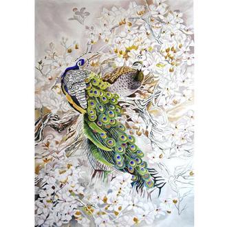 Пара павлинов в цветах магнолии. Птицы, живопись маслом, цветы. 70x50см.