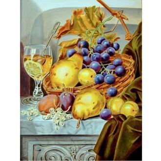 Натюрморт Фрукты и виноград в корзине и вино в бокале. Живопись маслом на холсте 40х30 см