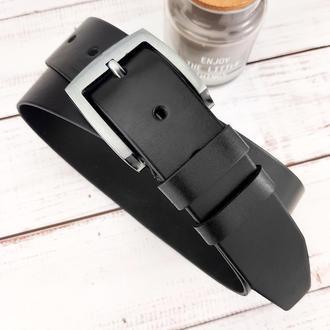 Ремень мужской кожаный широкий черный JK-4570 (120 см)