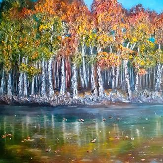 Картина маслом  Осенний пейзаж. Живопись природы, оригинальное искусство импасто.