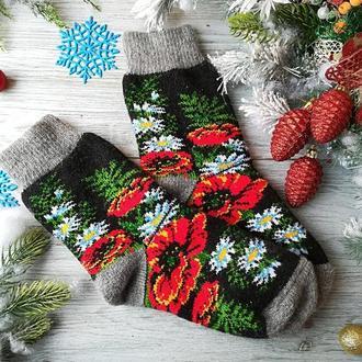 Женские носки новогодние шерстяные зимние Цветочная поляна, р.38-41( в реальности наманого красивее)