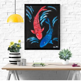 Картина маслом рыбки, Фэн-шуй живопись, Интерьерная картина, Авторская живопись
