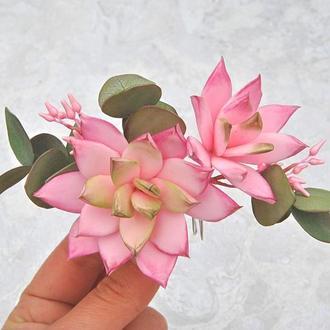 Гребень для волос с розовыми суккулентами Свадебный гребень с эвкалиптом и цветами