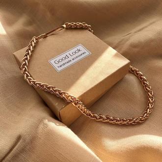 Крупная золотая цепь, большая цепочка чокер, золотая цепь на шею, массивная цепочка