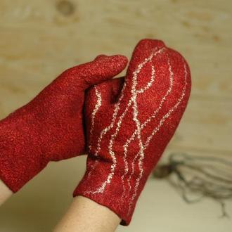 Варежки валяные. Валяные перчатки. Рукавички валяные