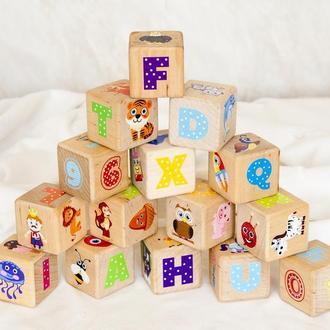 Дерев'яні кубики для дітей з англійським алфавітом