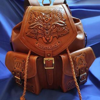 """Кожаный рюкзак """"ЛИСА"""" с инициалами"""