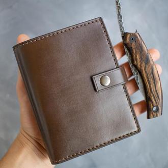 Кожаный коричневый портмоне для денег и докуметов ручной работы