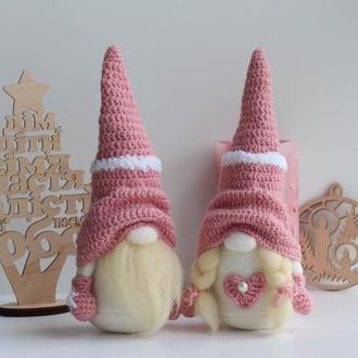 Новогодние гномы, Гномы вязаные шапки, Пара гномов, Рождественские гномы
