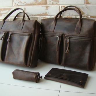 Стильная кожаная сумка/ сумка для ноутбука/ мужская сумка/ коричневая сумка