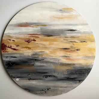 """АКЦИЯ 1+1=1. Абстрактная картина """"Moonset"""" поталь и металлик"""