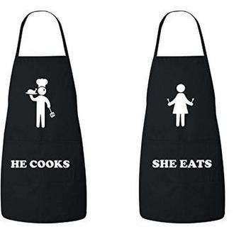 """ФА000398Парные фартуки с принтом """"Он готовит. Она ест"""""""