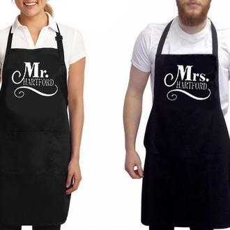 """ФА000403 Парні фартухи з принтом """"Містер і Місіс Хартфорд"""""""