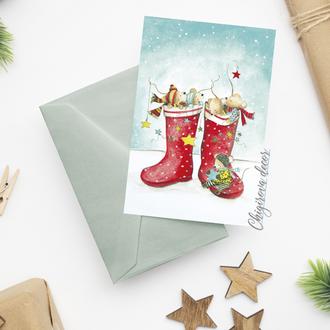 """Новогодняя открытка """"Зимние развлечения"""""""
