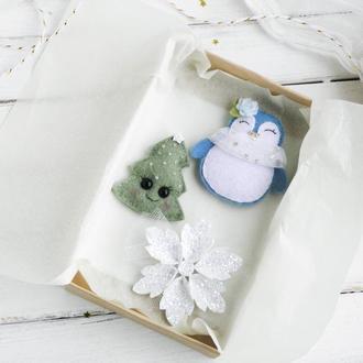 Детские новогодние заколки для девочки / Подарочный набор заколок