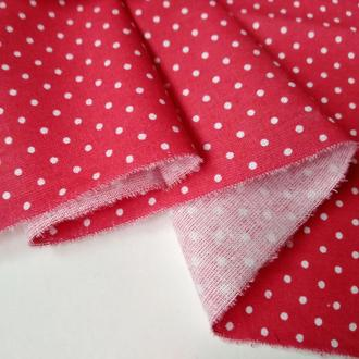 Ткань для рукоделия мелкий красный горошек
