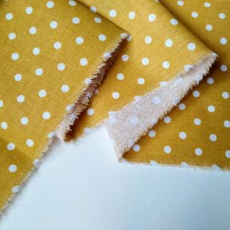 Ткань хлопок для рукоделия горошек горчица 4мм
