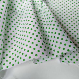 Ткань хлопок для рукоделия зелены горошек