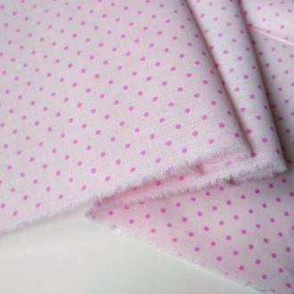 Ткань хлопок для рукоделия розовый горошек на бледно-розовом