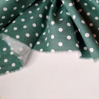 Ткань хлопок для рукоделия горошек на бирюзово-зеленом 4мм