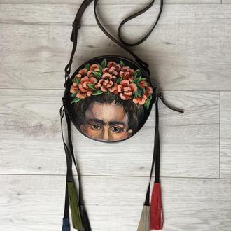 """Шкіряна сумка drum boho з ручним розписом """"Фріда Кало"""