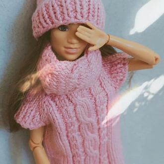 """Одежда для барби, Вязанная, платье, шапка, снуд. Комплект""""Warm hugs"""""""