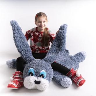Детский коврик - игрушка, зайчик, вязаный плюшевый коврик