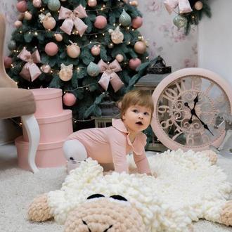 Детский коврик игрушка Барашек, плюшевый вязаный коврик.