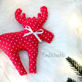 """Текстильная игрушка """"Новогодний лось"""" рождественский лось."""