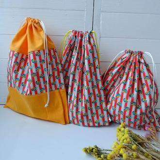 Набор эко мешочков 3 шт, эко торбочки, тканевые мешки для продуктов, хранения