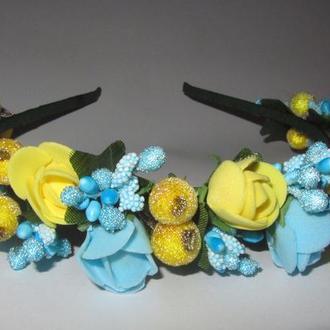 """Венок, ободок, обруч ручной работы цветы и сахарные  ягоды """"Люблю Украину"""""""