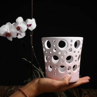 Ажурное кашпо для орхидей Керамическое резное кашпо для орхидеи Горшок для цветов