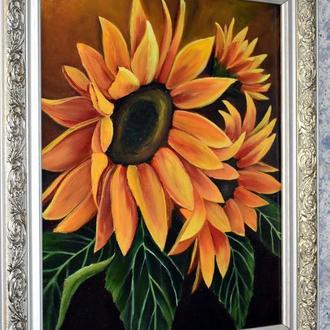 Соняшники,живопис, розмір полотна 40х50см