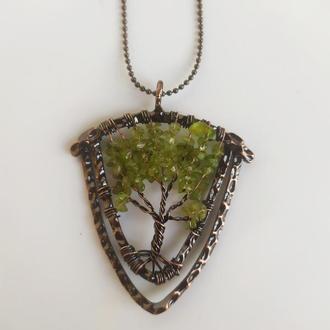 """Кулон """" Дерево"""" из натуральных камней на цепочке"""