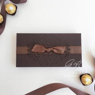 """GiftBox """"Pino"""" Цвет 3 (коричневый) - открытка в коробочке"""