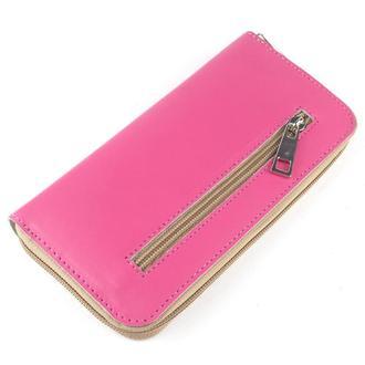 Женский кожаный кошелек на молнии (розовый)