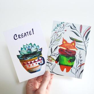 Авторские открытки Кактус и Лис. Набор из двух открыток. Оригинальный подарок