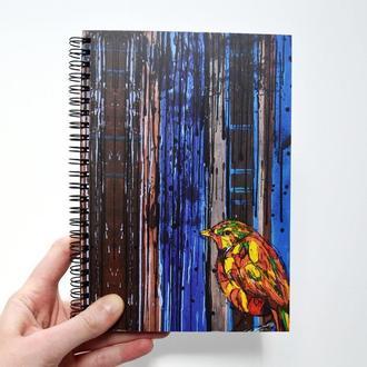 Блокнот А5 с черными страницами и белая ручка. Авторская иллюстрация Птица. 90 листов.