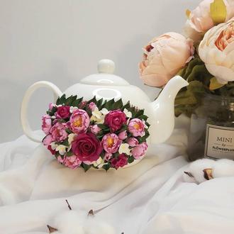Заварной чайник с декором из полимерной глины
