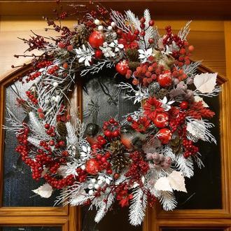 Новогодний рождественский венок подсвечник декор новорічний вінок композиція