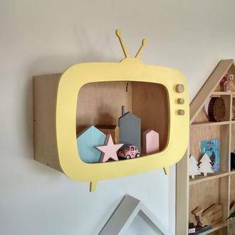 Полочка телевизор большая полка для игрушек