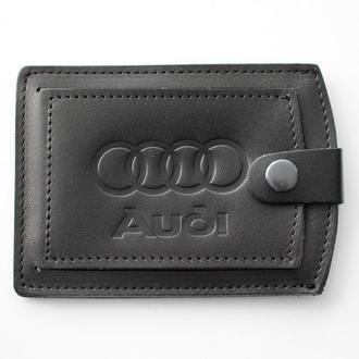 Кожаная обложка для прав Audi черная 5072