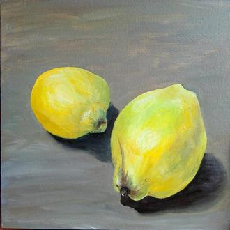 Картина маслом жёлтая айва