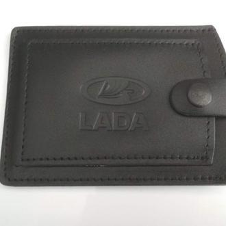 Кожаная обложка для прав Lada черная 5072