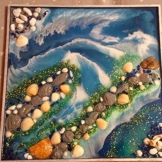 Картина море из эпоксидной смолы resin art