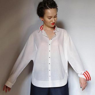 Рубашка-кимоно женская. Батистовая рубашка оверсайз. Рубашки женские стильные